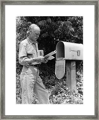 Farmer Reading Mail, C.1940s Framed Print by H. Armstrong Roberts/ClassicStock