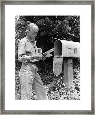 Farmer Reading Mail, C.1940s Framed Print