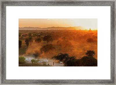 Framed Print featuring the photograph Farmer Returning To Village In The Evening by Pradeep Raja Prints