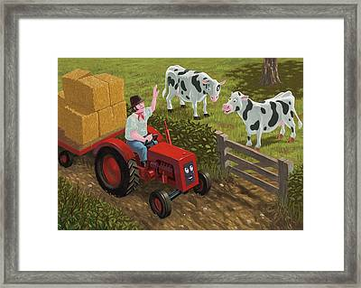 Farmer Visiting Cows In Field Framed Print by Martin Davey