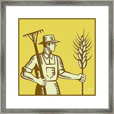 Farmer With Rake And Wheat Woodcut Framed Print