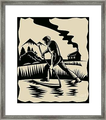Farmer With Scythe Framed Print by Aloysius Patrimonio