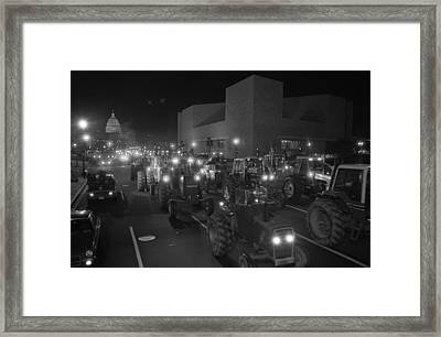 Farmers Driving Tractors Framed Print by Everett
