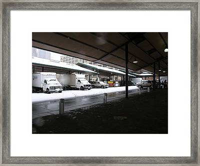 Farmers Market In The Snow Framed Print by Janis Beauchamp