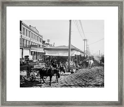 Farmers Market New Orleans Ca 1900 Framed Print by Jon Neidert