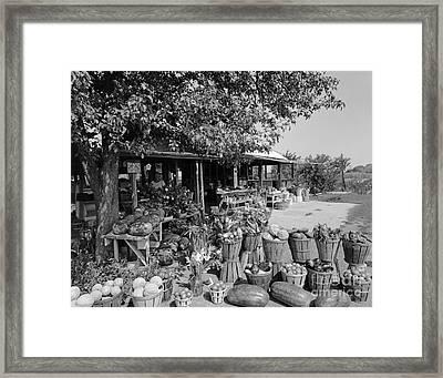 Farmers Market With Bushel Baskets Framed Print