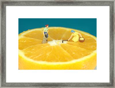Farmers On Orange Framed Print by Paul Ge
