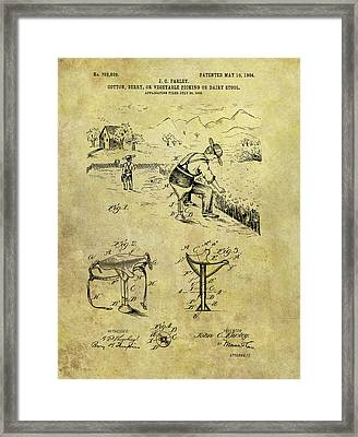 Farmer's Stool Patent Framed Print by Dan Sproul