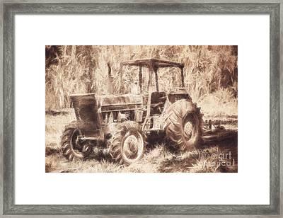 Farmers Tractor Working In Australia Farmyard Framed Print by Jorgo Photography - Wall Art Gallery