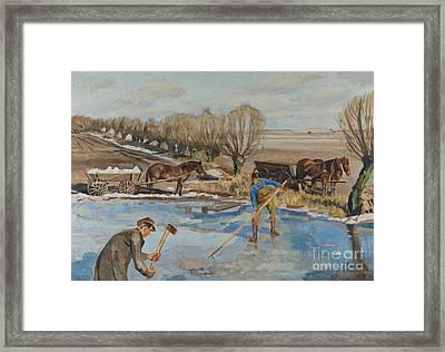 Farmhands Fetching Ice Framed Print