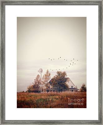 Framed Print featuring the photograph Farmhouse And Windmill by Jill Battaglia