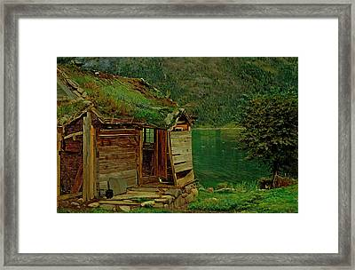 Farmhouse At Balestrand Framed Print by Amaldus Nielsen