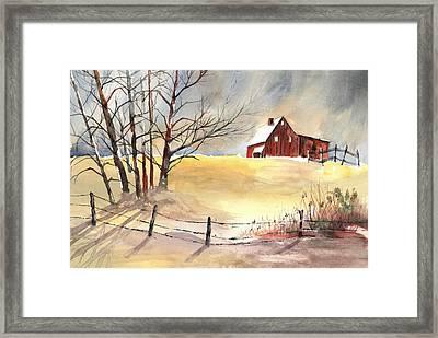 Farmhouse Bathed In Winter Sun Framed Print by Carol Helene