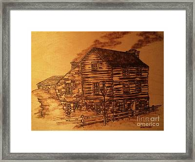 Framed Print featuring the pyrography Farmhouse by Denise Tomasura