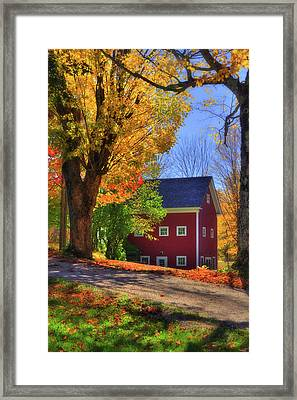 Farmhouse In Autumn - South Royalton, Vt Framed Print