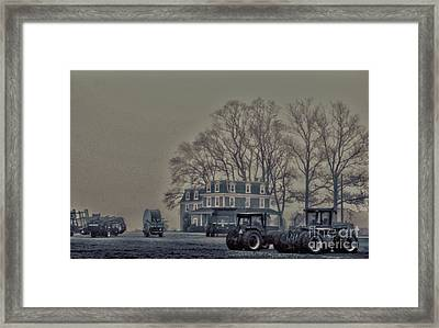 Farmhouse In Morning Fog Framed Print