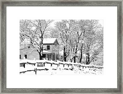 Farmhouse In Winter Framed Print