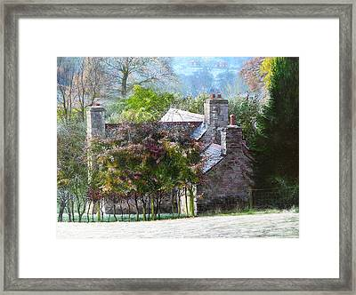 Framed Print featuring the painting Farmhouse On A Cold Winter Morning. by Harry Robertson