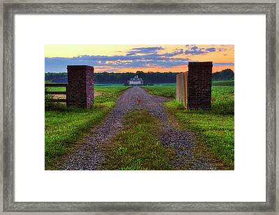 Framed Print featuring the photograph Farmhouse Sunrise - Arkansas - Landscape by Jason Politte