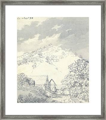 Farmhouses By A Hillside Framed Print by Caspar David Friedrich
