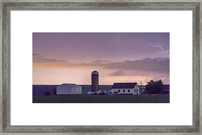 Farming Country Lightning Storm Watching Panorama Framed Print by James BO  Insogna
