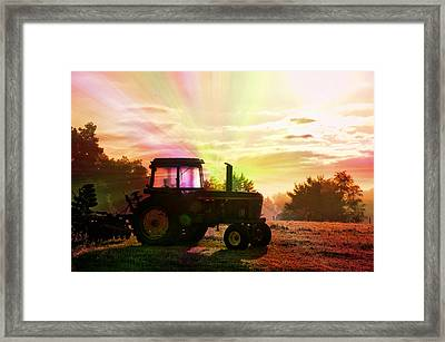 Farming Good Morning John Deere Rainbow Framed Print by Thomas Woolworth