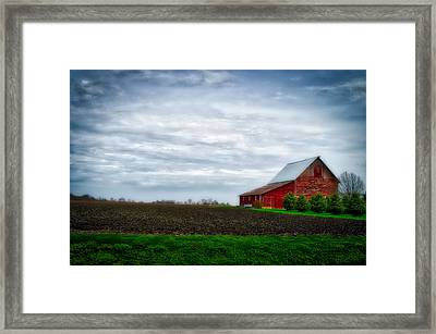 Farming Red Barn On A Quite Spring Day Framed Print by Thomas Woolworth