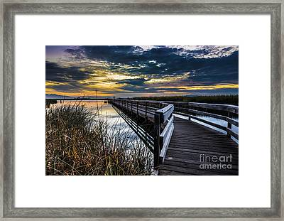 Farmington Bay Sunset - Great Salt Lake Framed Print by Gary Whitton