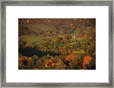 Farmlands And George Washington Natl Framed Print by Raymond Gehman
