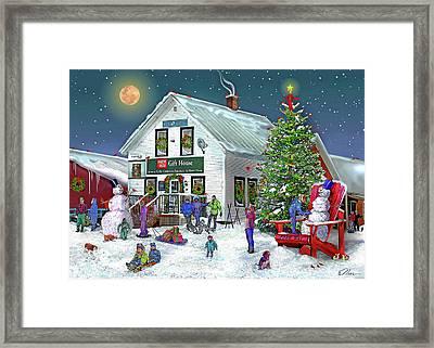 Farmway In Bradford Vermont Winter Framed Print