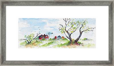 Farmyard From Afar Framed Print