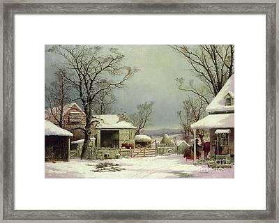 Farmyard In Winter, 1862 Framed Print by George Durrie