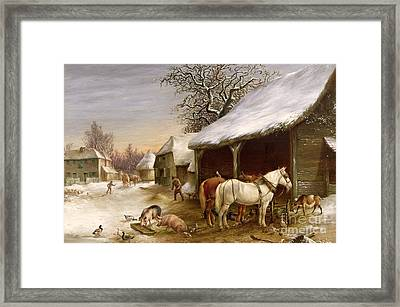 Farmyard In Winter  Framed Print by Henry Woollett