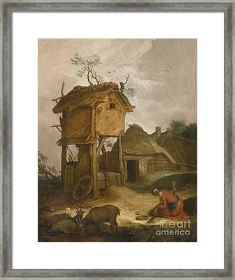 Farmyard With Dovecote Framed Print