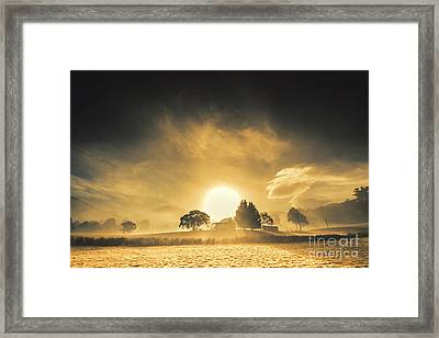 Farmyards And Silhouettes Framed Print