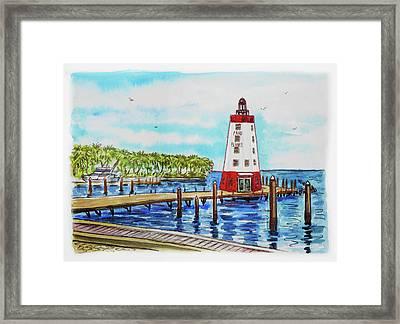 Faro Blanco Lighthouse Florida Keys Framed Print