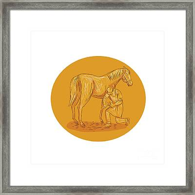 Farrier Placing Shoe On Horse Hoof Circle Drawing Framed Print