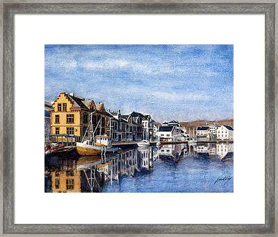 Farsund Dock Scene 2 Framed Print by Janet King