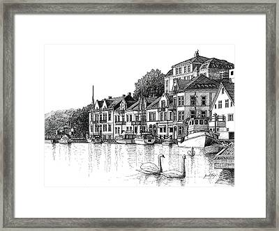 Farsund Harbor In Ink Framed Print