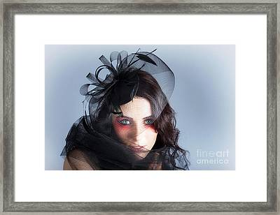 Fascinating Makeup Woman In High Fashion Hat  Framed Print