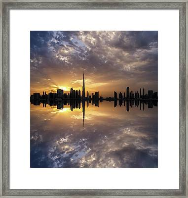 Fascinating Reflection In Business Bay District During Dramatic Sunset. Dubai, United Arab Emirates. Framed Print