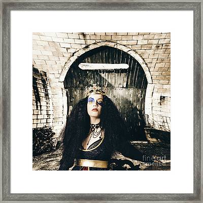 Fashion Beauty Princess Sitting By Castle Door Framed Print