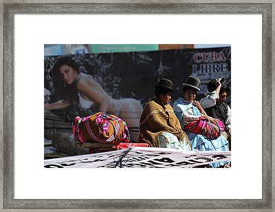 Fashion Contrasts In Bolivia Framed Print by James Brunker