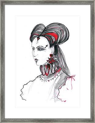 Fashion Illustration In Watercolor Framed Print by Marian Voicu