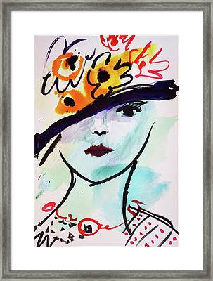 Fashion, Vintage Hat With Flowers Framed Print