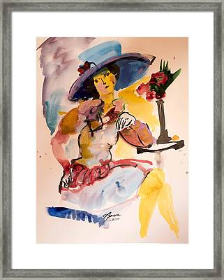Fashion Woman With Blue Hat Framed Print