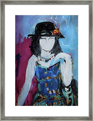 Fashion Woman With Vintage Hat And Blue Dress Framed Print by Amara Dacer