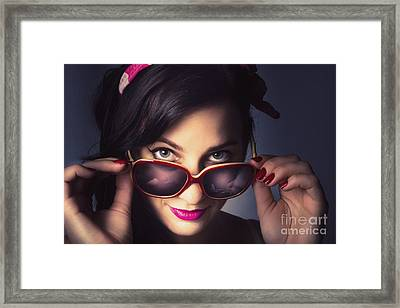 Fashionable Retro Pin-up Model Framed Print
