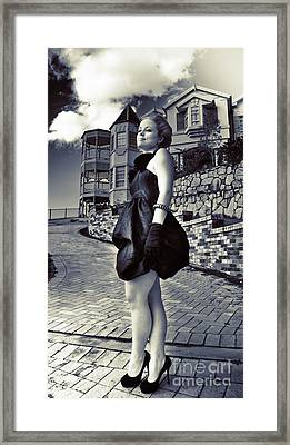 Fashionable Woman And Mansion Framed Print