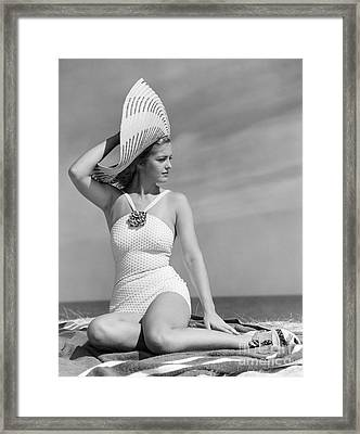 Fashionable Woman At The Beach Framed Print by H. Armstrong Roberts/ClassicStock